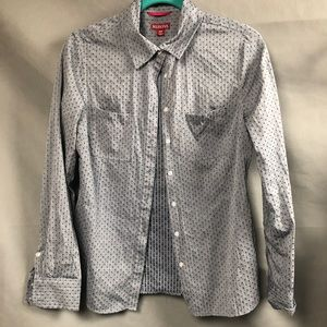 Button up denim Swiss dot